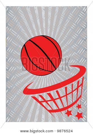 Basketball On Metal Background