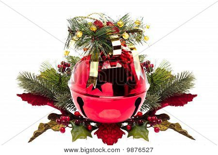 Shiny Red Jingle Bell With A Holly Sprig Isolated On White With Copy Space