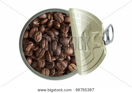 Top View Of Opened Can With Coffee Beans