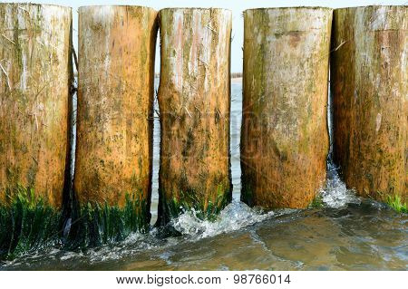 Row Of Wooden Piles In Sea