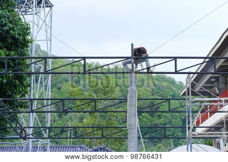 The Worker Is Welding The Structure Of The Building