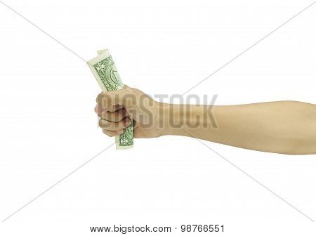 hand holding money isolated on white background.