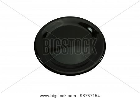 Black empty plate isolated on white background.