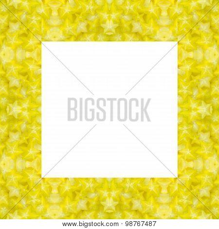 Star Fruit Frame Isolated On White Backround