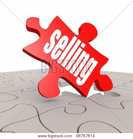 Selling Word With Puzzle Background
