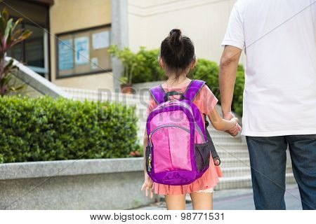Father Walking To School With Children