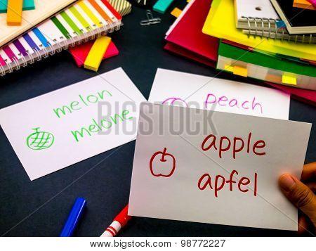 Learning New Language Making Original Flash Cards; German