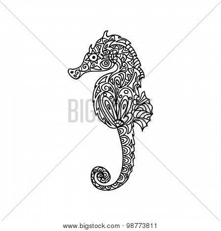 Horsefish seahorse zentangle