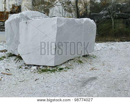 Blocks of white marble