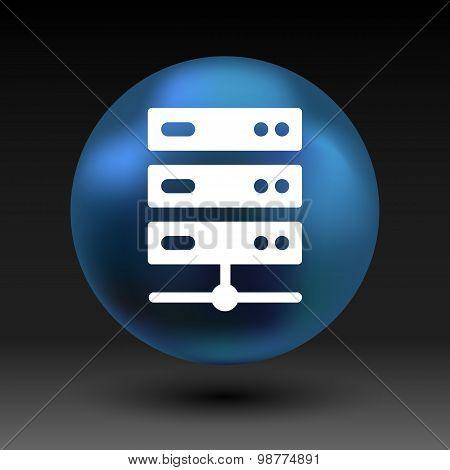 Flat Computer Server system icon vector illustration