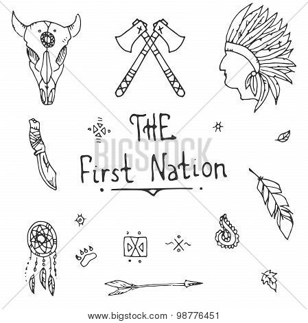 Native american style Sketch Icon Set