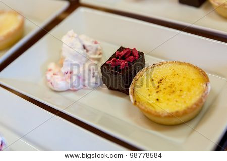 Lemon Tart, Brownie Mouse Pudding Platter