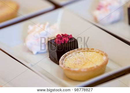 Lemon Tart, Brownie Mousse Pudding Platter