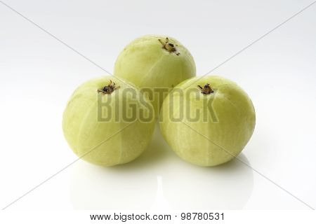 Fresh Green Gooseberries on white background shot in studio