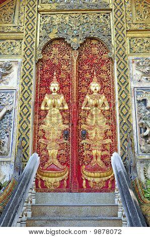 Temple door decorations from Vihear temple front door. Fine patterns with Thai craftsmanship. Wat Ke