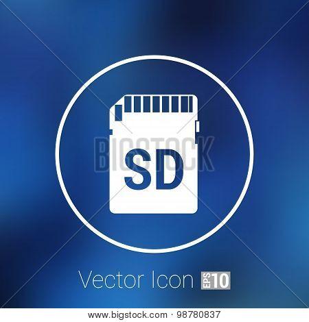 Vector Icon SD card. black silhouette symbol