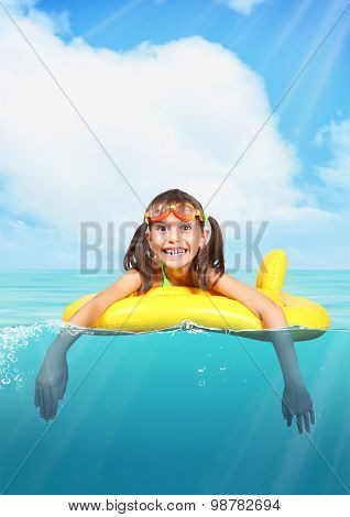 Funny Smiling Little Girl With Diving Glasses Floating Inflatable Ring At Sea, Vacation Concept