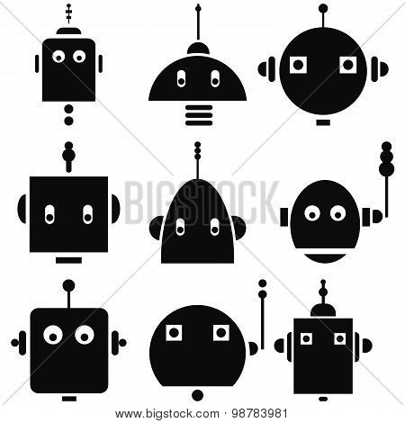 Vintage retro robots heads 2 icons set in black and white