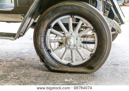 Flat Tire On Antique Car_