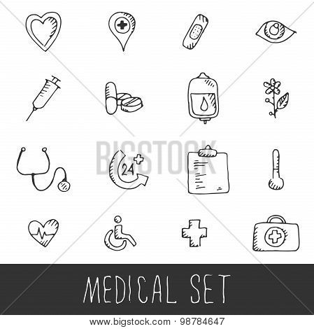 Sketch Medical Icon Set