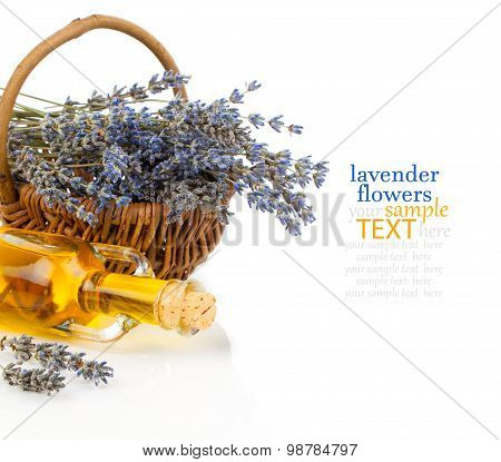Spa Still Life With Lavender Oil And Flowers On White Background
