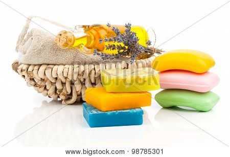 Spa Still Life With Handmade Soaps, Lavender Flowers And Oil, On White Background
