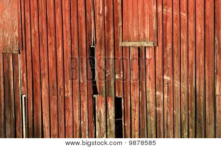 Worn Red Barn Boards.