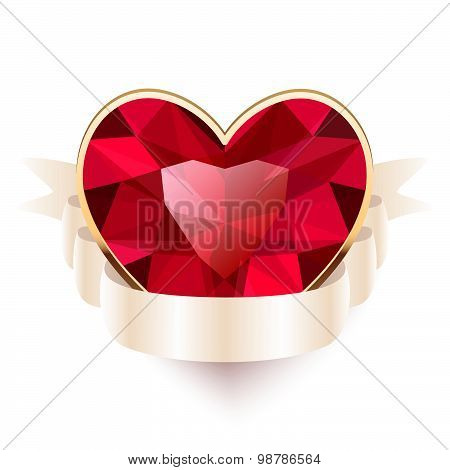 Red Gemstone Heart Shaped With Ribbon