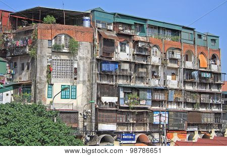 municipal multistore domestic building in poor district of Hanoi
