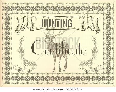 Certificate Design In Vintage Style With Deer