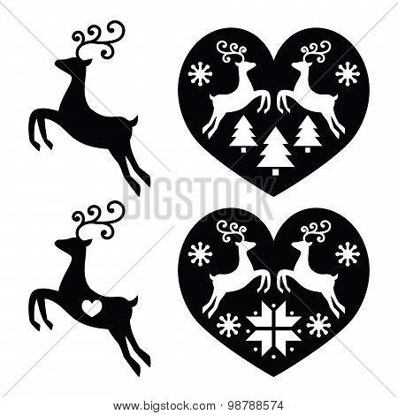 Reindeer, deer jumping, Christmas icons set