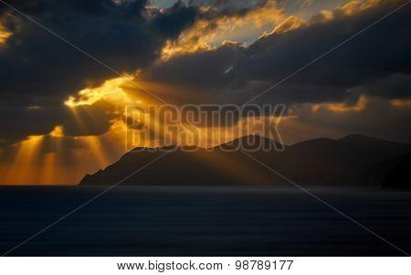 Sunset In Cinque Terre Italy