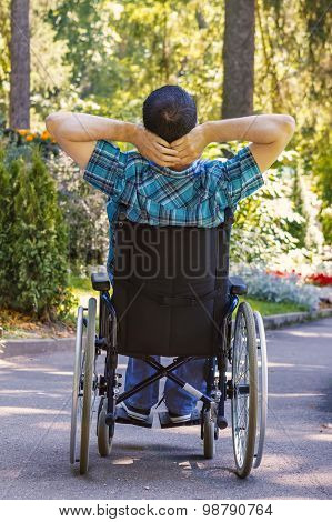 Young Man In A Wheelchair Enjoying Fresh Air in a Sunny Day