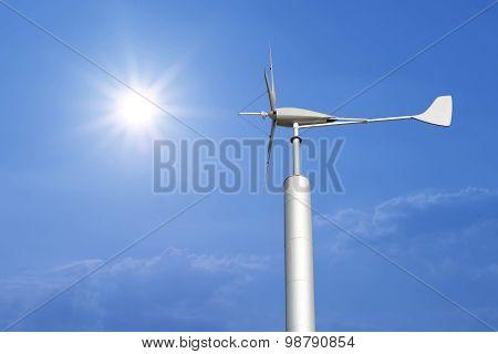 Wind Turbine For Renewable Energy On Beautiful Sky Background