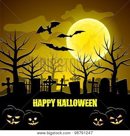 Graveyard And Pumpkins Halloween Background