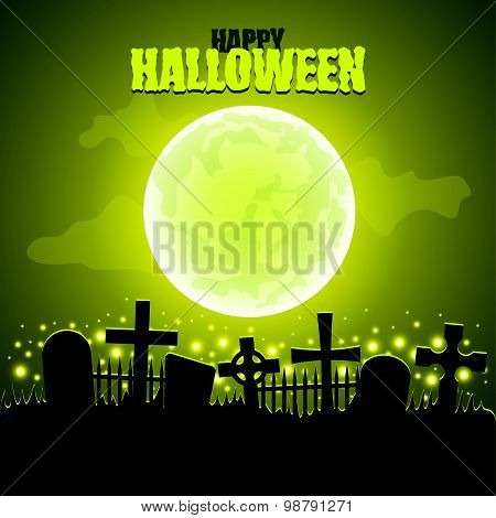Green Moon And Graveyard Halloween Background