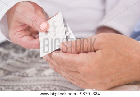 Holding Blister Of Tablets