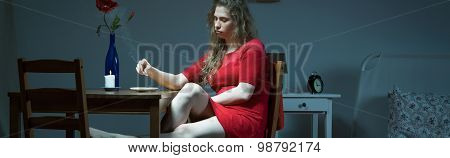 Woman With Depression Smoking Cigarette