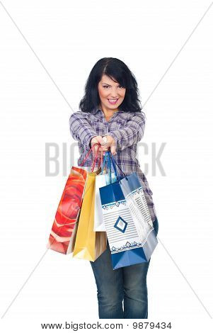Happy Shopper Woman Giving Shopping Bags