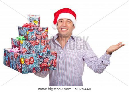 Santa Helper Man With Gifts Asking