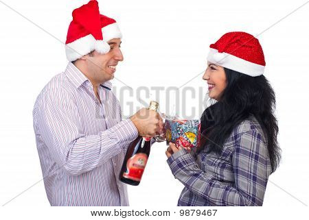 Laughing Christmas Couple Having Fun