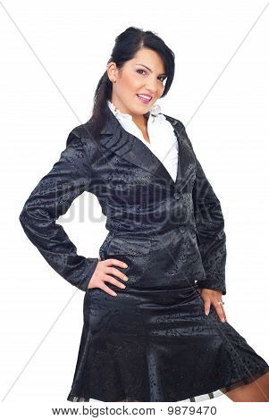 Attractive Model Woman In Elegant Suit