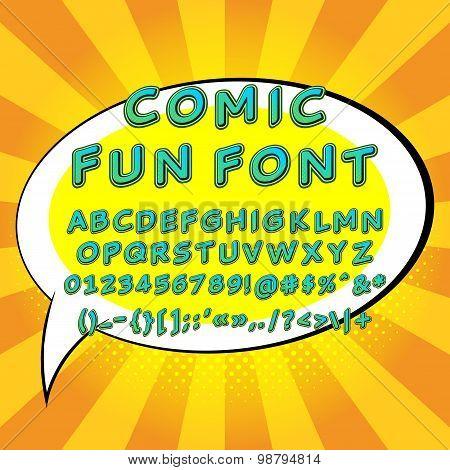 Pop Art Comic Fun Font Vector Illustration