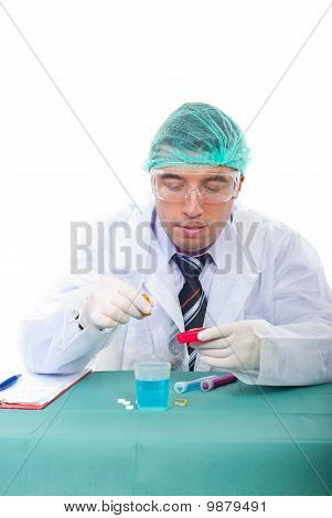 Researcher Man In Laboratory