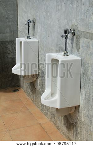 Urinals In A Public Restroom
