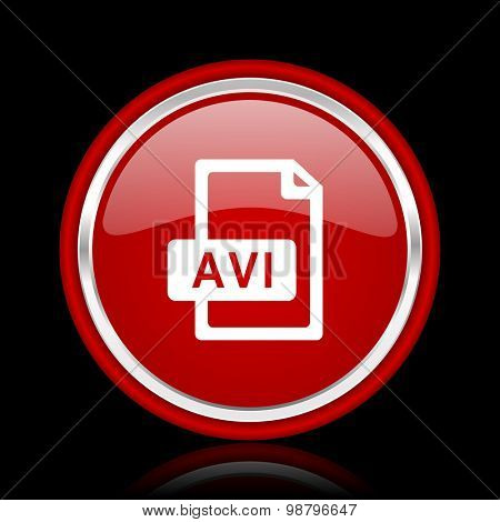 avi file red glossy web icon  chrome design on black background with reflection