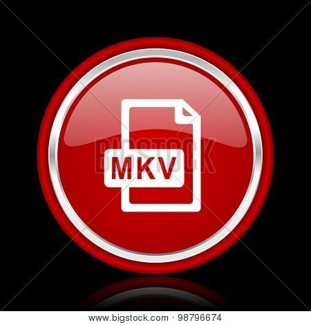 mkv file red glossy web icon  chrome design on black background with reflection