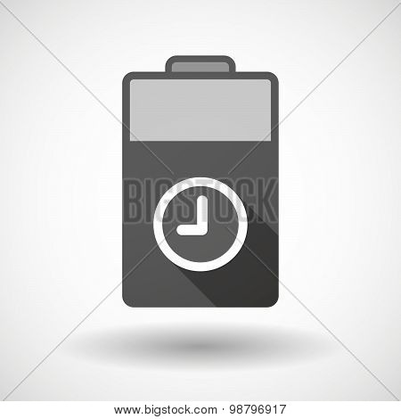 Isolated Battery Icon With A Clock
