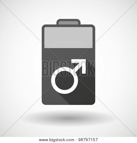 Isolated Battery Icon With A Male Sign