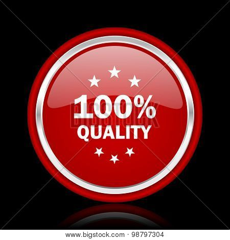 quality red glossy web icon chrome design on black background with reflection